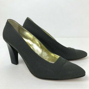 Escada Gray Canvas Pointed Toe Designer Pumps Sz 9